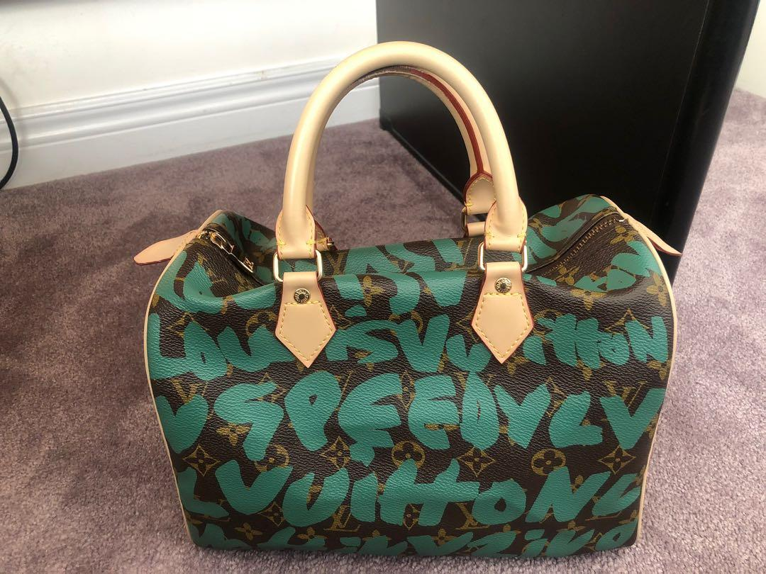 LV Louis Vuitton speedy with green letters limited edition