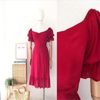 ‼️New‼️Puffed Sleeves Midi Dress with sleeves