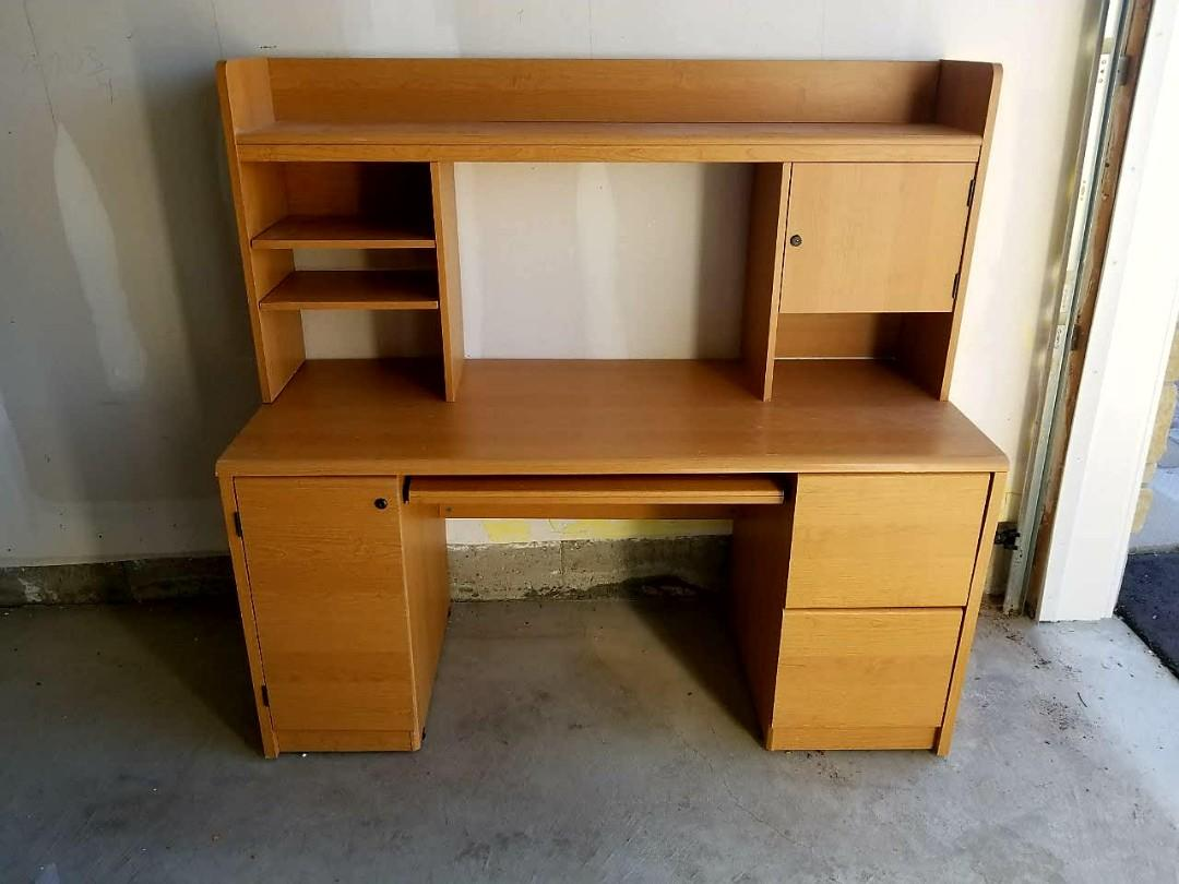 Office/Study Table with Overhead Storage Unit