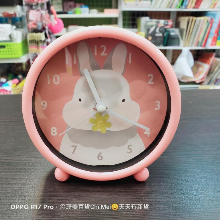 測OK-粉色 兔子鬍鬚家族小鬧鐘ACK-7105 KINYO  鬧鐘 時鐘