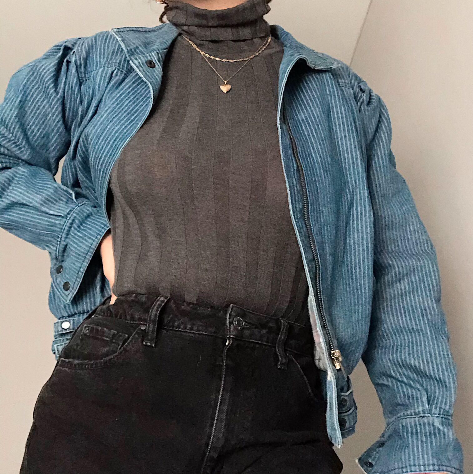 RARE casual club pinstripe denim jacket