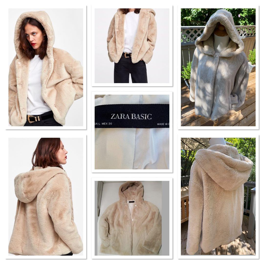 REDUCED!!!!!!!!Cozy Zara faux fur Ecru hooded jacket