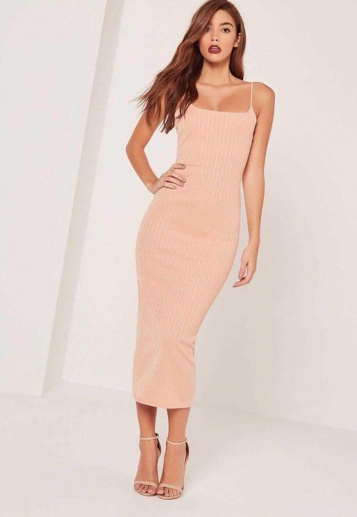 SARAH ASHCROFT X MISSGUIDED Ribbed Strappy Midi Dress