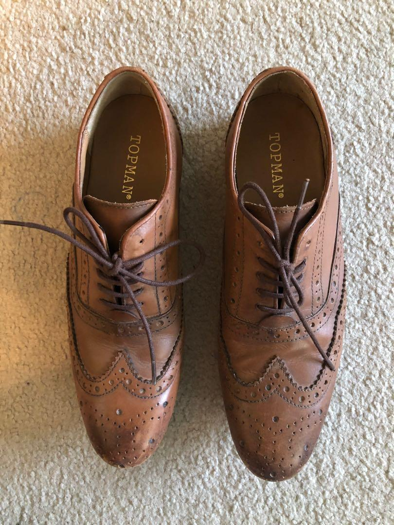 Topman - Brown Leather Shoes Size 7