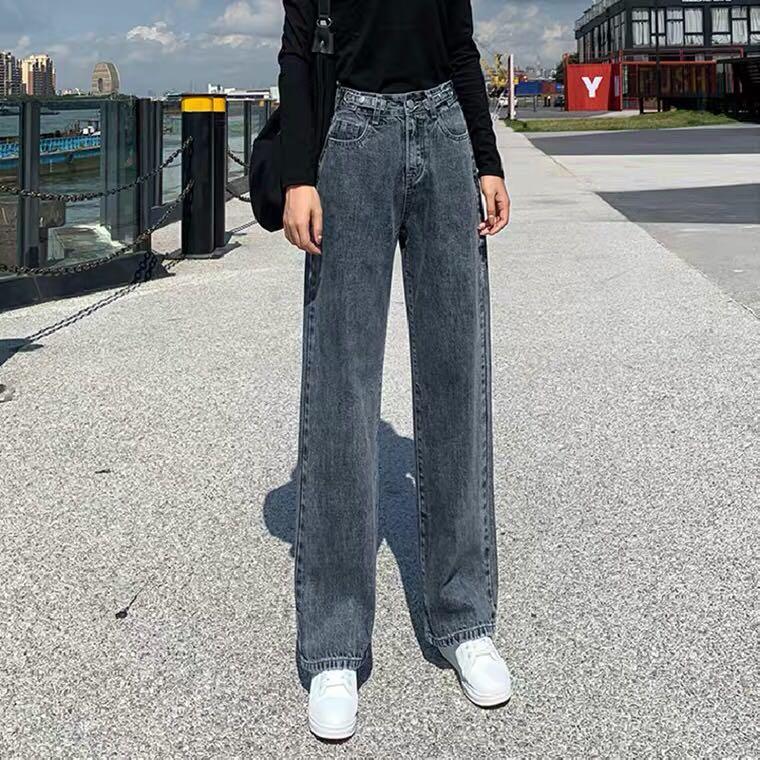 港味高腰牛仔褲女春秋新款顯瘦垂感寬鬆闊腿拖地九分直筒褲冬裝潮1117n