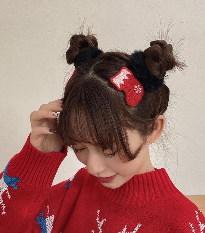 針織毛線聖誕節日髮飾/一組(2包)