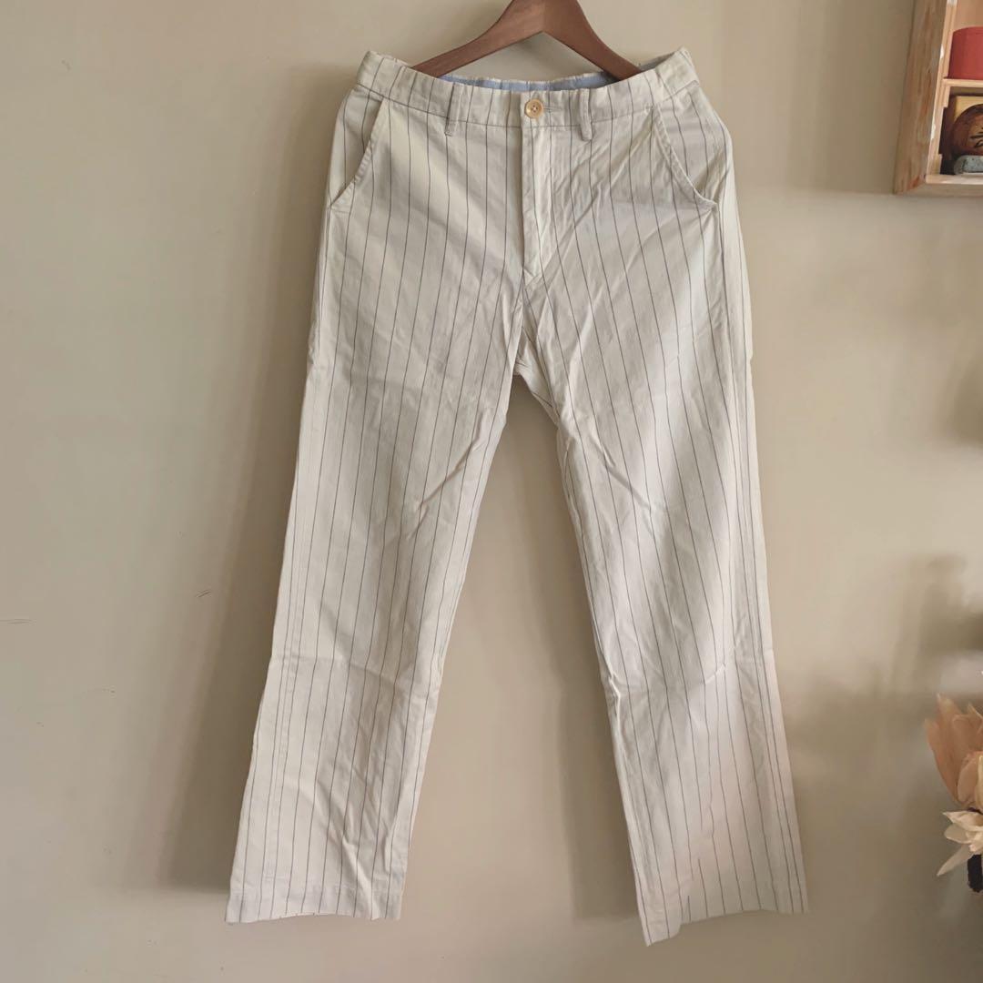 45r 45rpm 學院 條紋 復古 ivy 極簡 棉料 法式 fudge 米白 米色 寬褲 長褲 復古 寬條 西裝褲