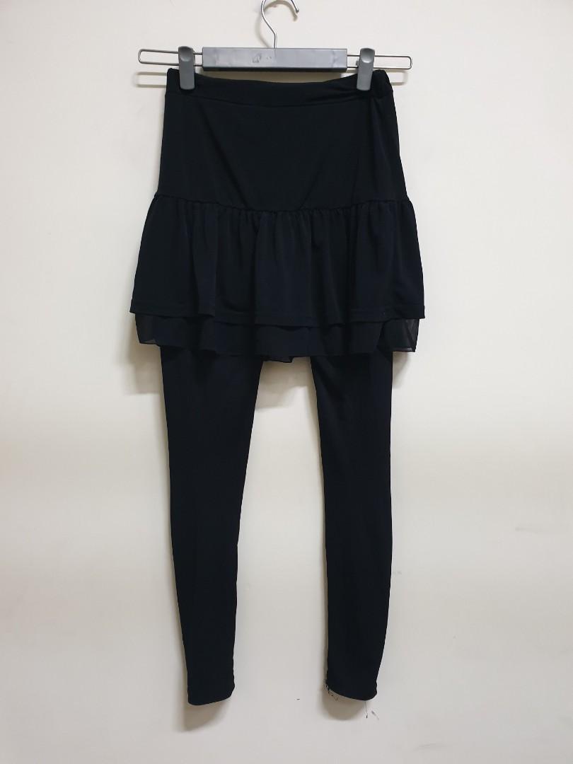 5343時尚*韓版黑色彈性褲裙*全館三件免運或買三送一(100元以下)