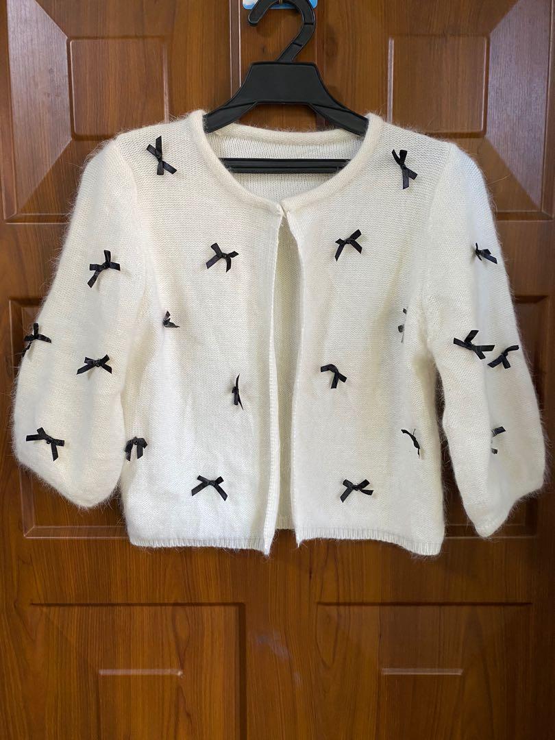 甜美蝴蝶結5分袖外套