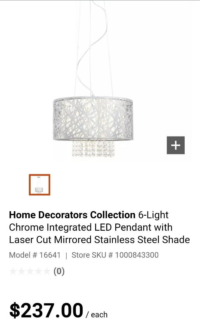 Chrome LED Pendant with Laser Cut Mirrored Stainless Steel Shade, 6 Lights