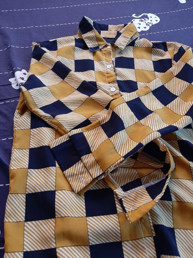 黃黑格撞色復古薄襯衫