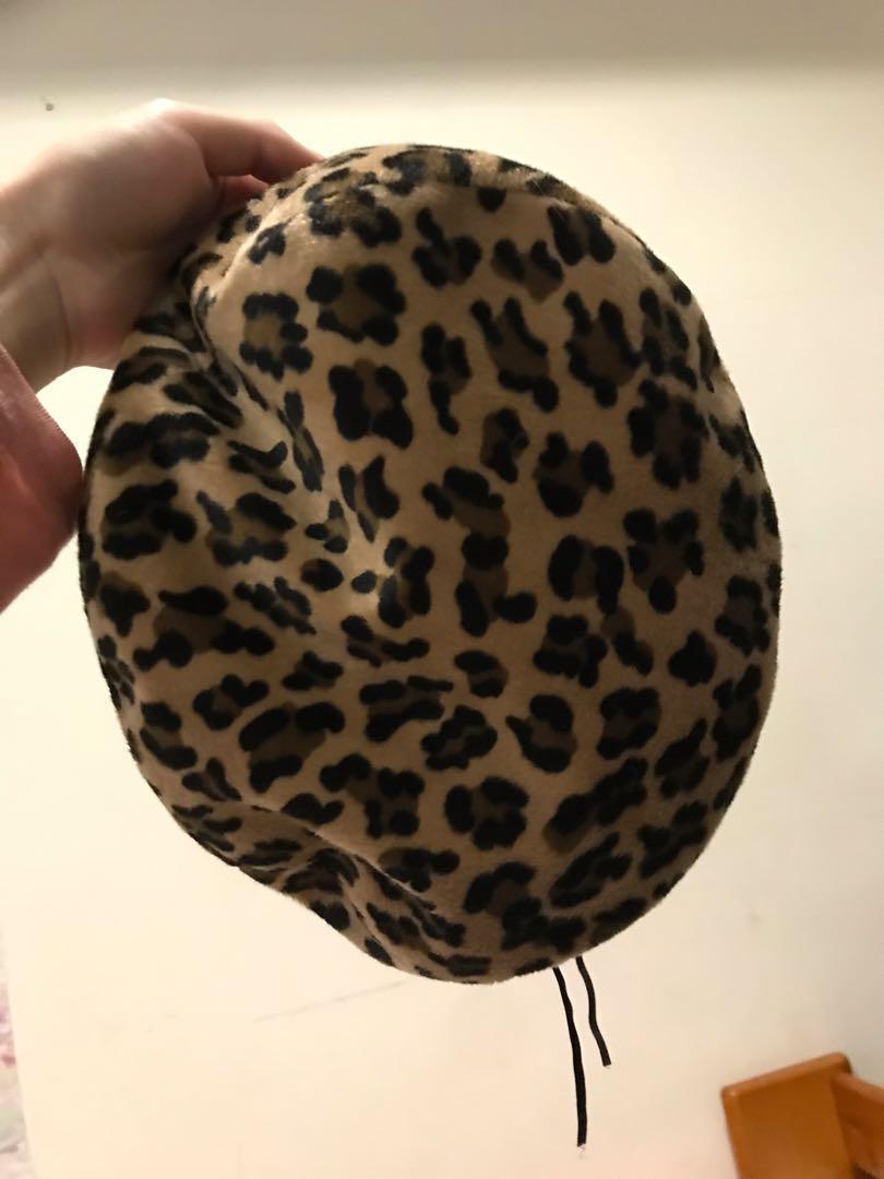 韓國🇰🇷豹紋貝雷帽❤️可調鬆緊