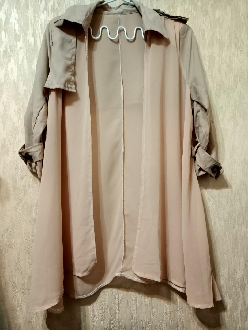 質感奶茶色雪紡六分袖罩衫