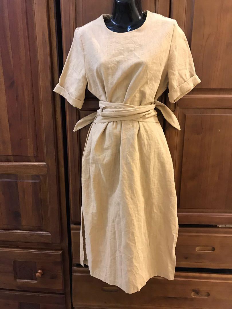 韓國製造韓品鬆緊縮腰綁帶短袖卡其色棉麻長洋裝開衩