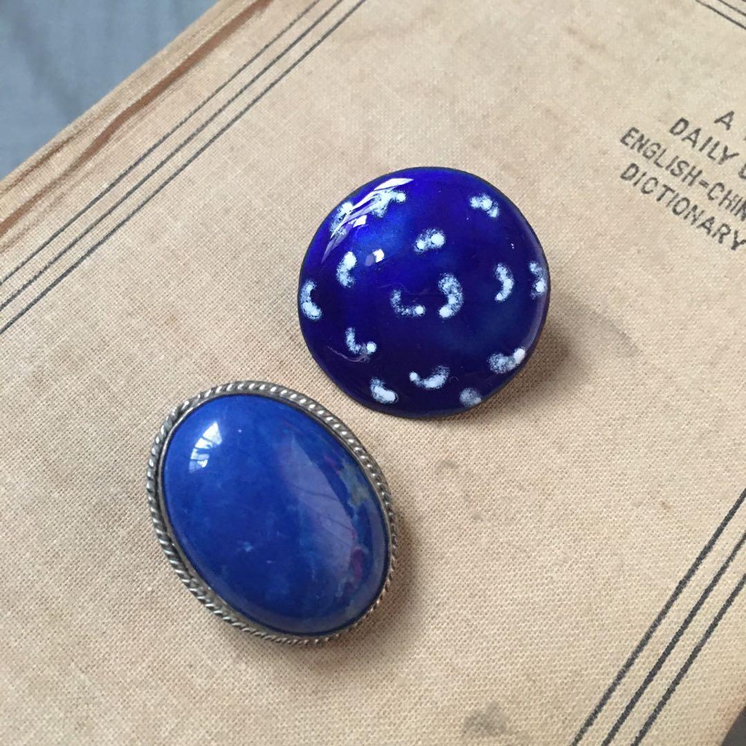 日本小古董耳夾:藍系寶藏