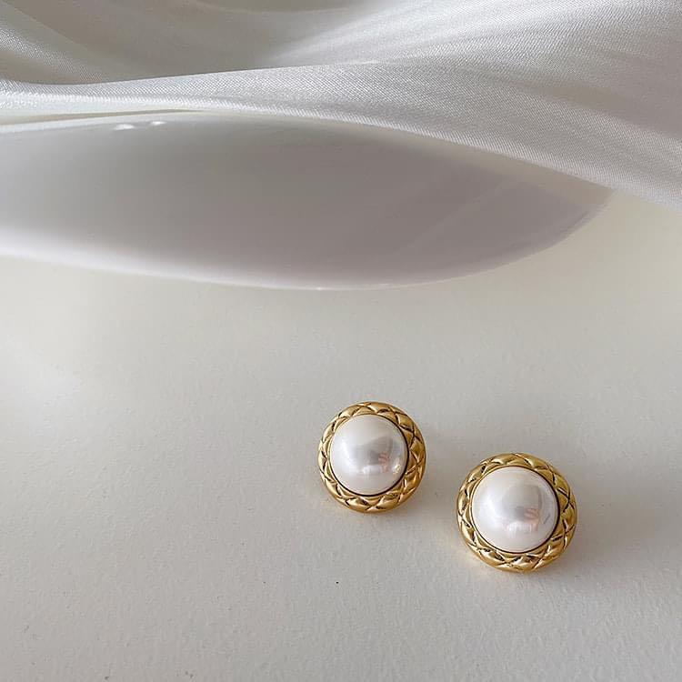 復古女孩大珍珠方型橢圓形圓形貼耳耳環