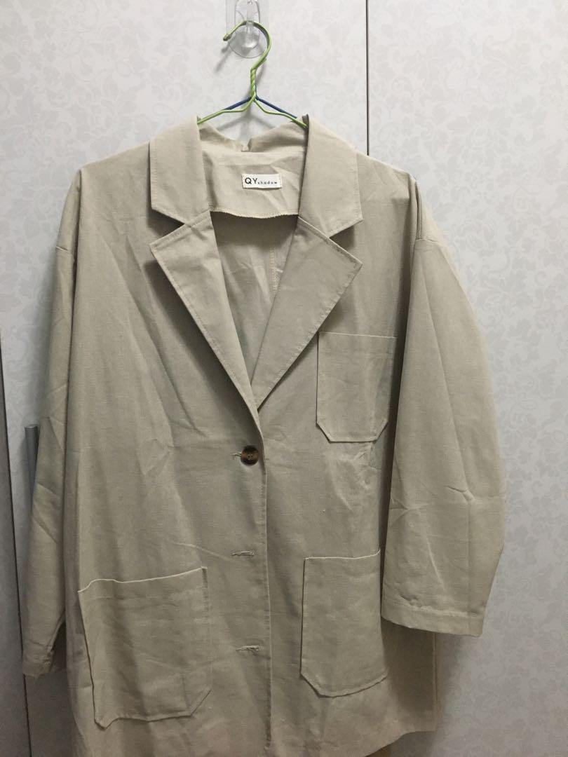 棉麻西裝薄外套