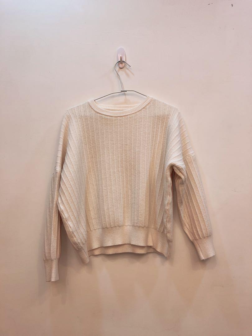 質感女人味針織毛衣(淡米白)