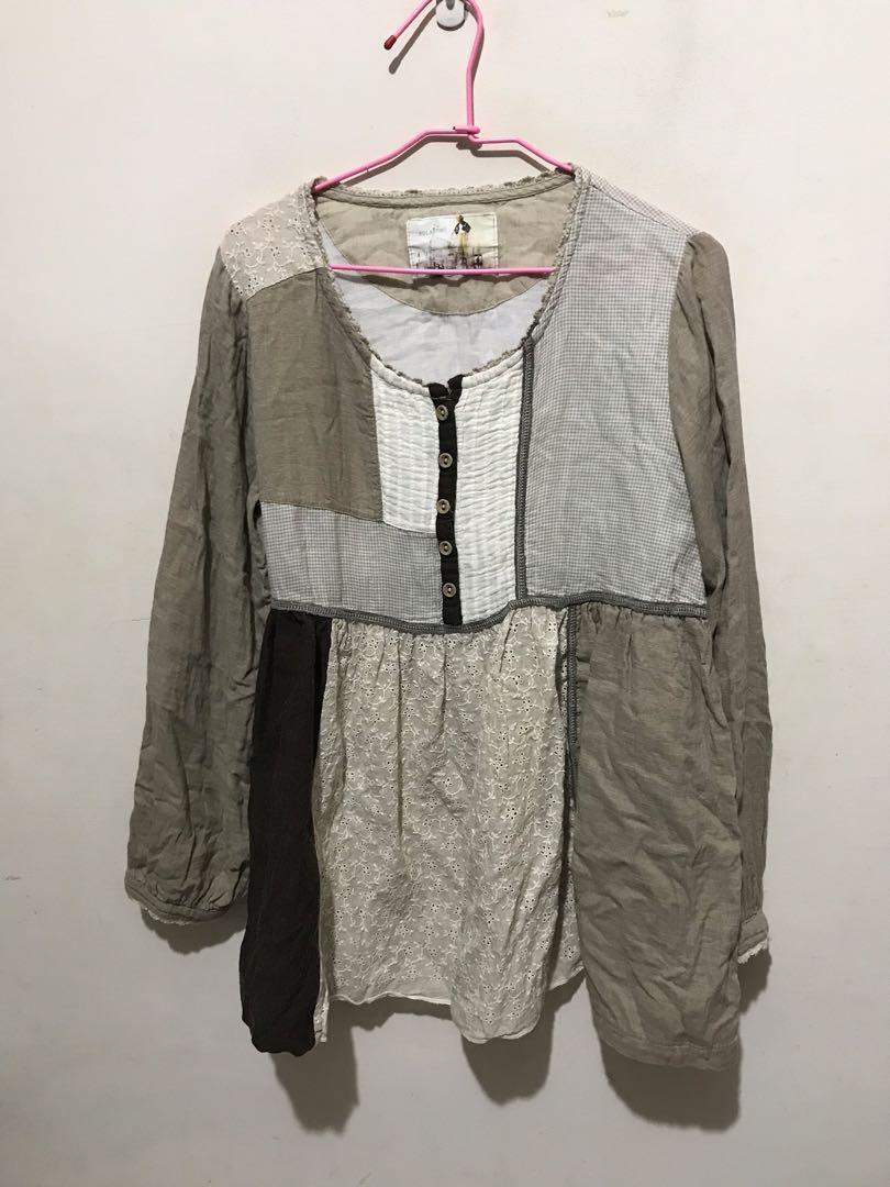 韓國文青風純棉質上衣