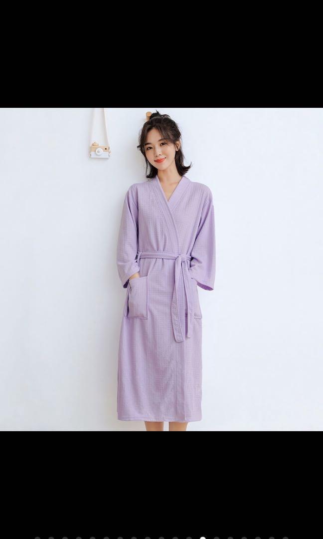 「紫色」女士晨袍睡衣吸水浴衣