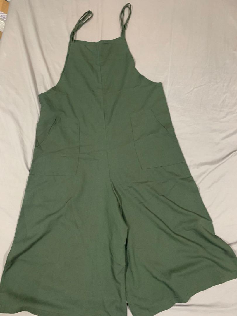 綠色吊帶寬褲