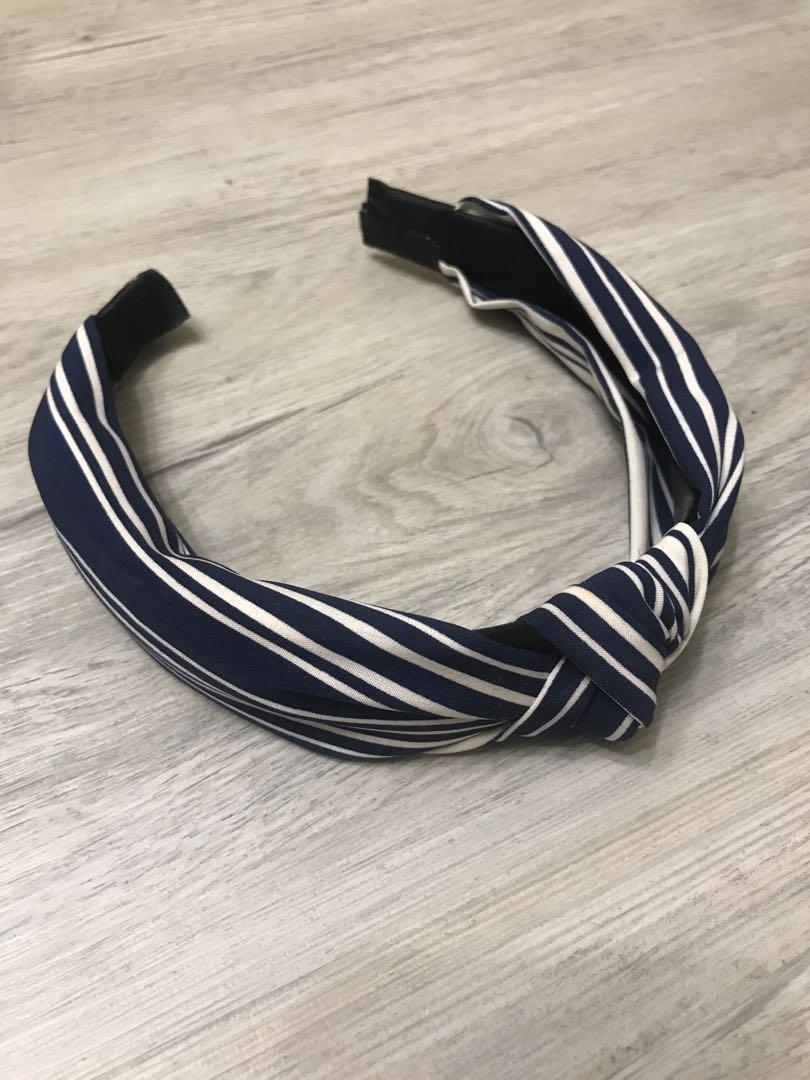 寶藍條紋髮箍
