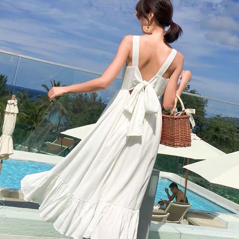度假波希米亞風白色洋裝