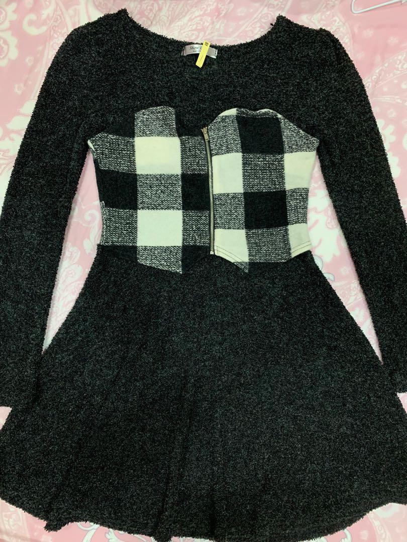 毛料拼接格紋洋裝