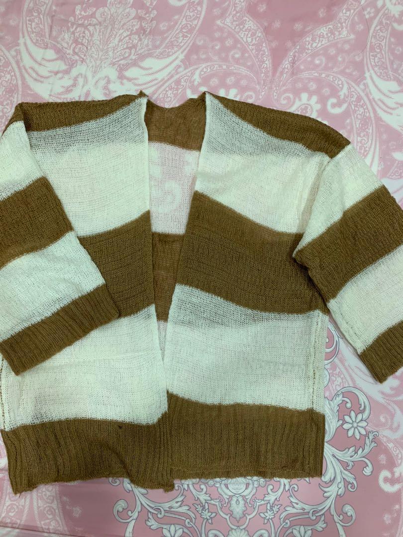 條紋針織外套