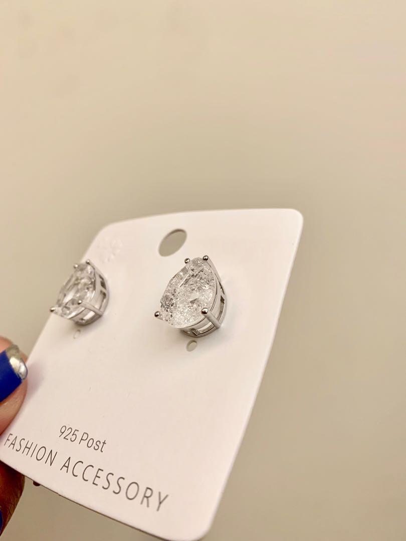全新 925銀針 鋯石耳環 #送暖