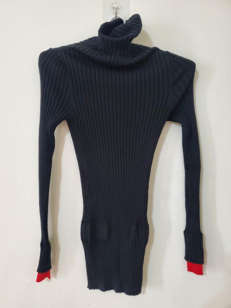 台灣設計師 全新黑色針織條紋高領上衣(冬)