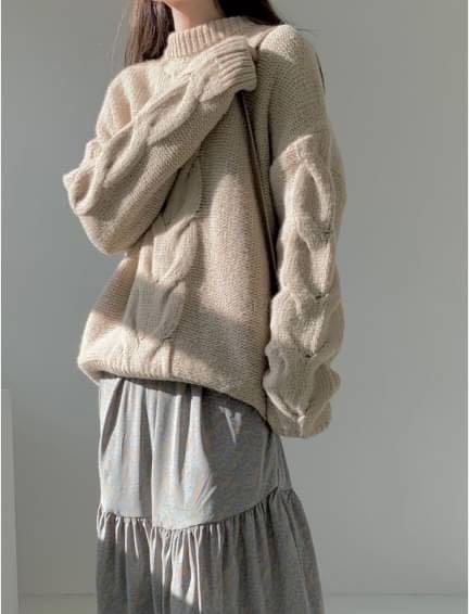正韓上衣  羊駝毛特殊編織長版毛衣