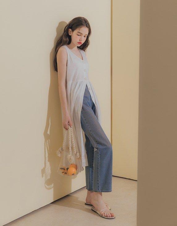 杏色棉麻背心長裙