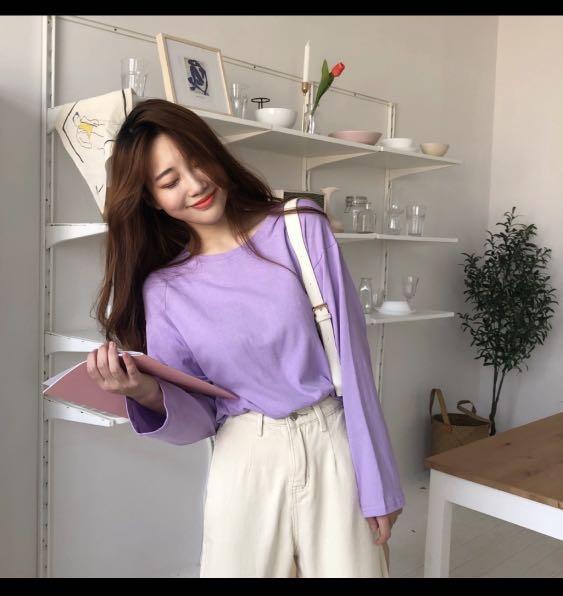 長袖衣服 亮紫色