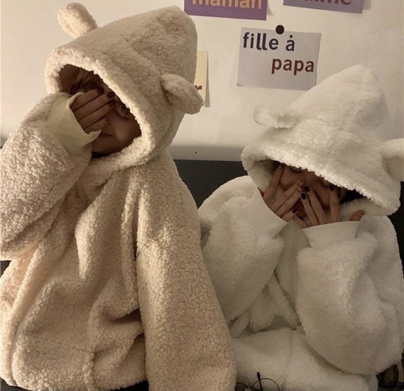 秋冬新款 仿羔羊毛絨 學生 寬鬆連帽厚外套🧥