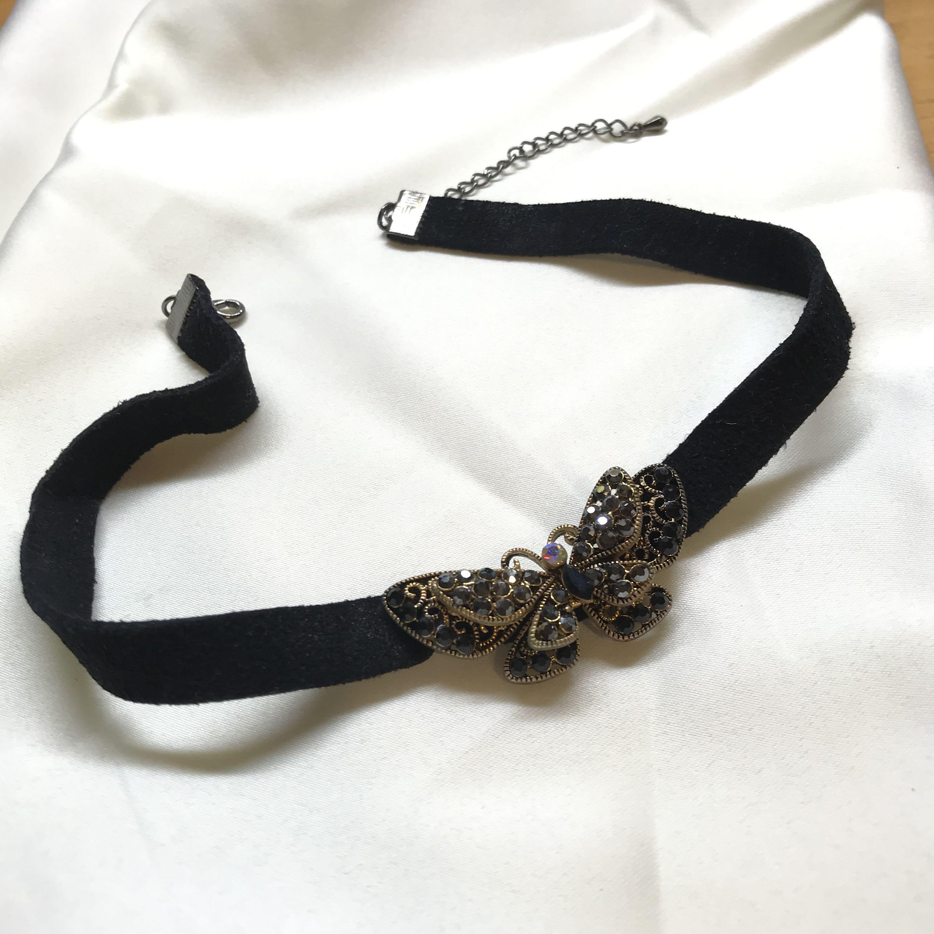 韓國 黑色水鑽 頸鏈 項鍊