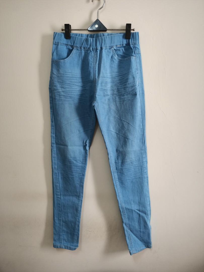 九成新 淺藍色 鬆緊褲頭 牛仔長褲