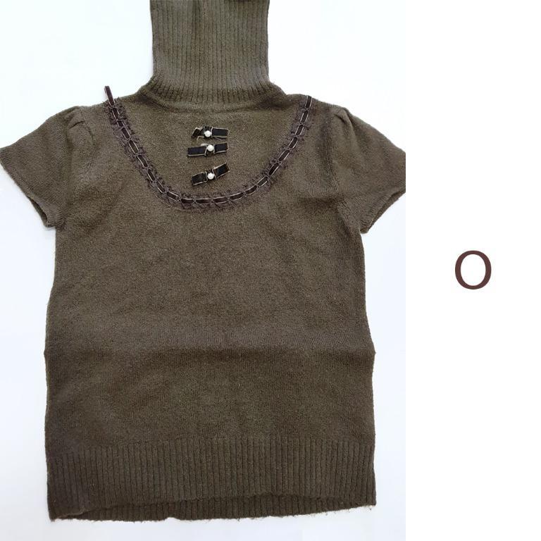 大地色 氣質 短袖 毛衣 Sweater Top