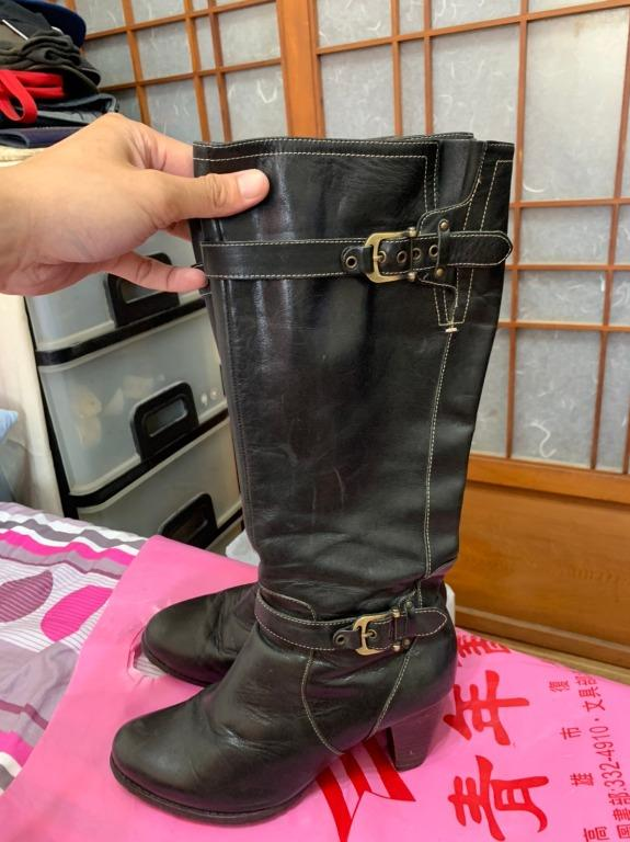 「 二手鞋 」 SM 女版皮革長靴 8號(深咖啡)6