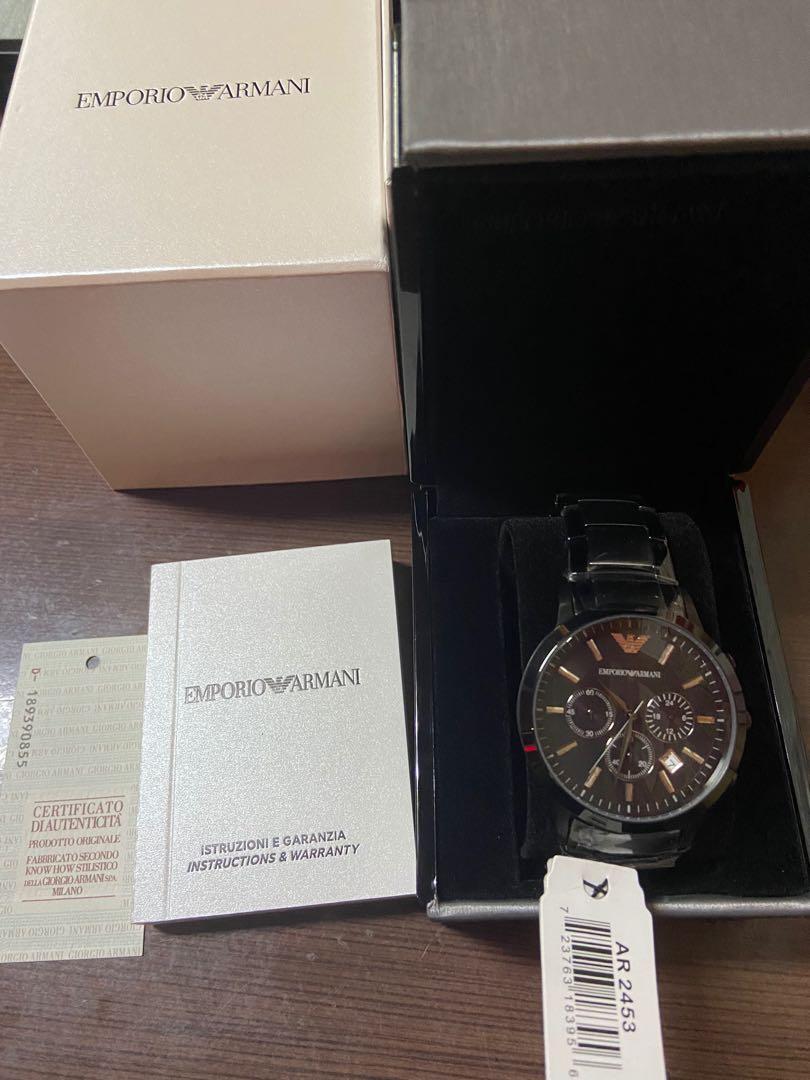 全新亞曼尼 黑鋼錶帶 AR2453