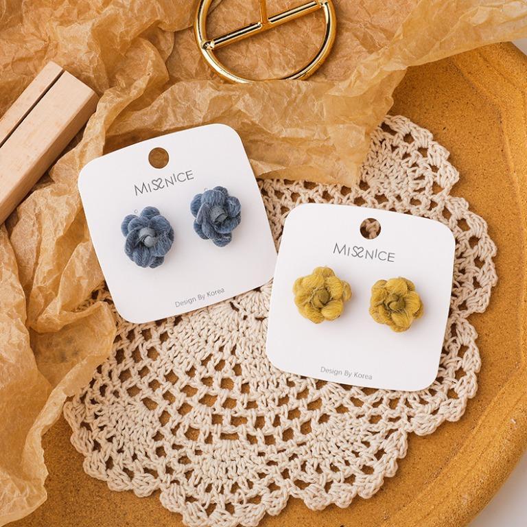 {朵朵韓飾} B5562 韓國直送(正韓)-925銀針 氣質優雅立體毛絨花朵耳環(二色)