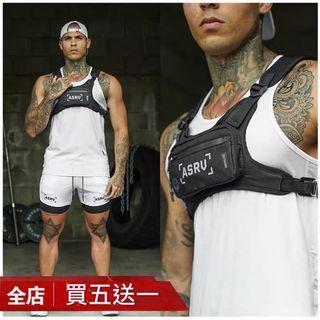 【 Gshop.】男女嘻哈戰術背心運動跑步多功能機能胸包馬甲式雙肩背包