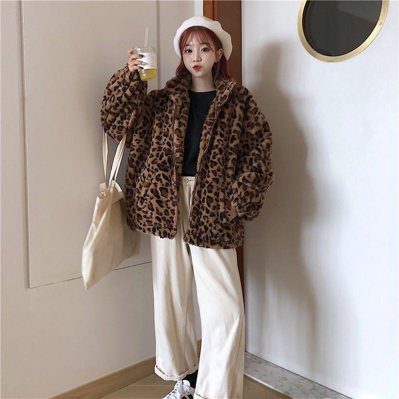 A冬裝新款寬鬆豹紋毛毛加絨外套