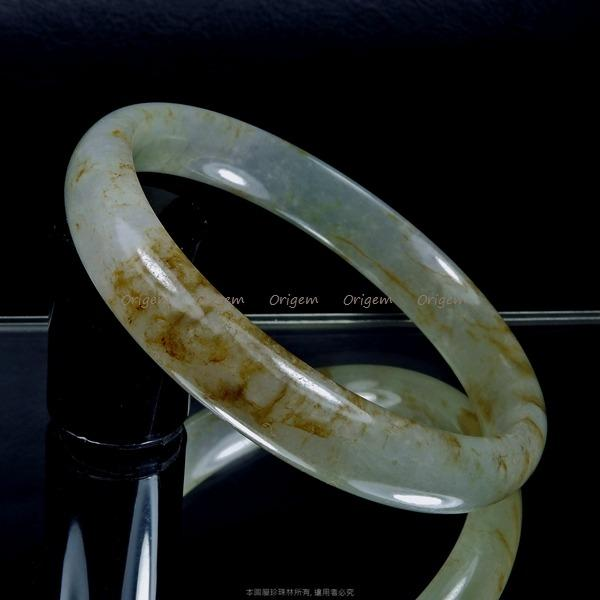 珍珠林~經典美鐲~A貨緬甸冰種翠玉蜜瑭璜紋.溫潤.細緻 內徑53.5MM#339