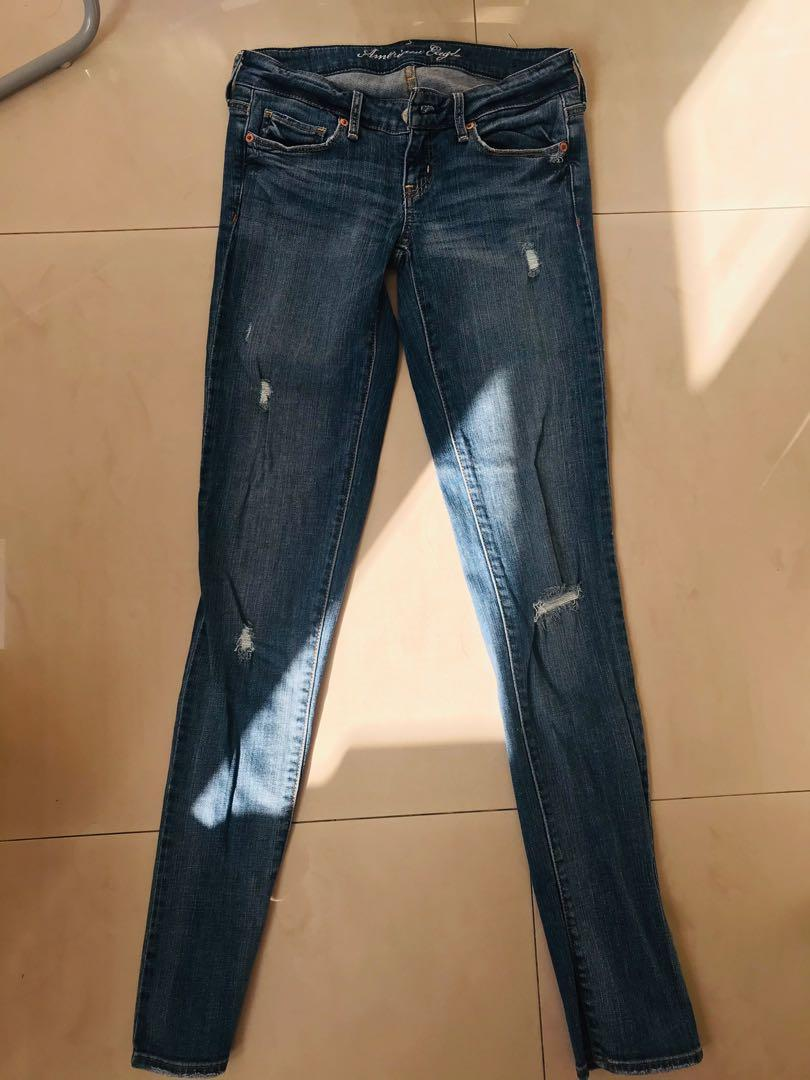 American Eagle 窄款丹寧牛仔褲 size: 0