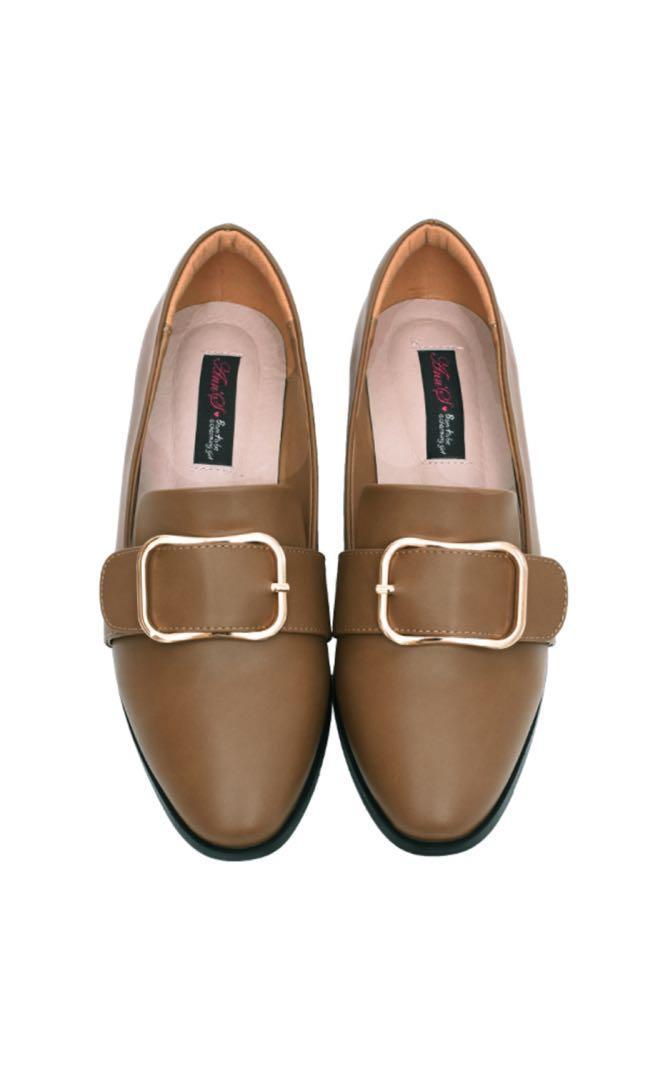 Ann'S 韓式文青 金屬圓弧方釦 紳士平底鞋 紳士鞋 復古 咖啡色 40碼 穿過一次