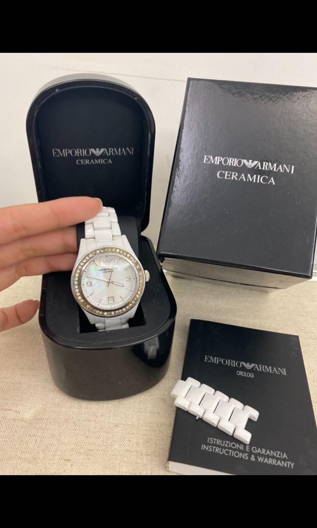 Armani 陶瓷錶 白色