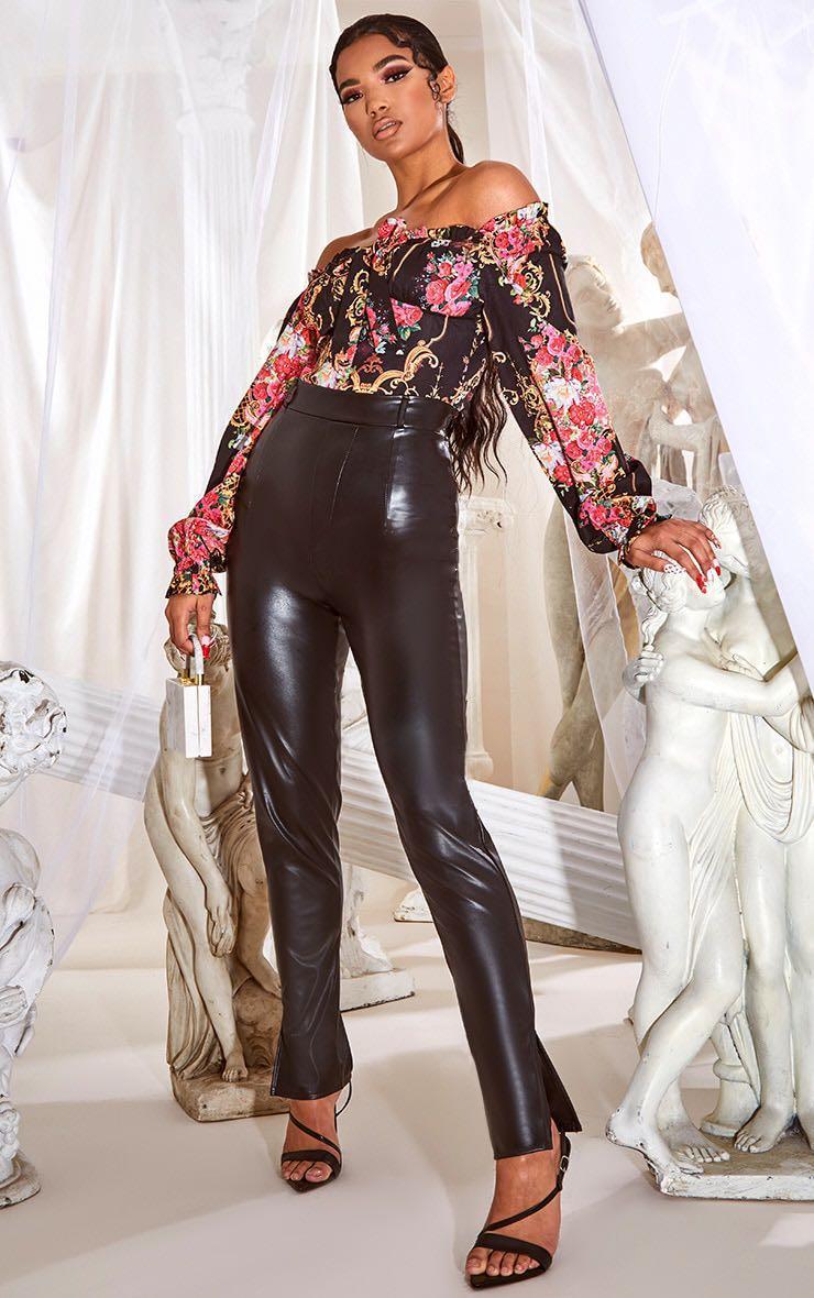 Black Faux Leather Split Hem Skinny