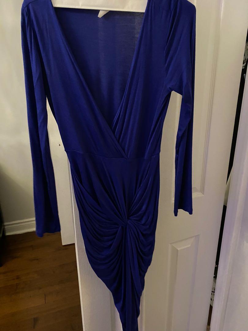 Blue plunge ruched low cut dress