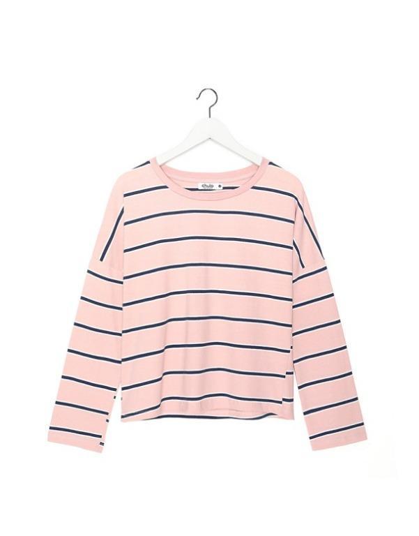 CACO 寬條紋薄長T 粉紅色 尺寸S
